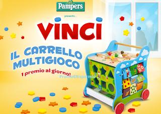 Logo Vinci ogni giorno un carrello multigioco con Pampers