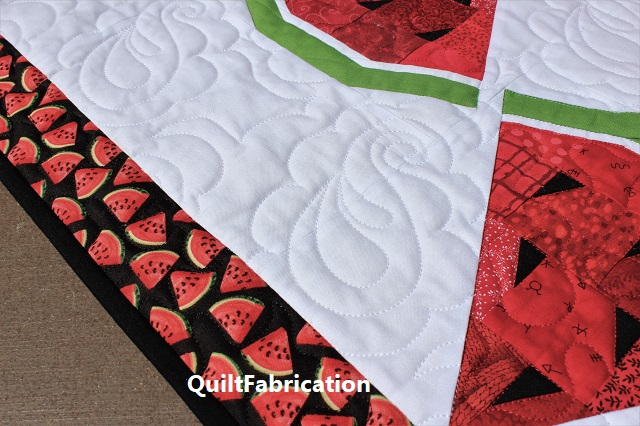 Watermelon Delight quilting closeup