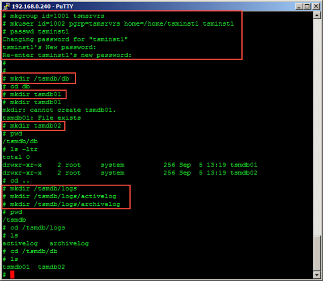 creating DB and LOG directories for TSM