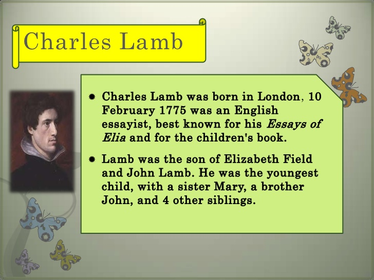 charles lamb essay new year eve Listen to episode 19 of the inspirational living podcast: conquering melancholy on new year's eve edited and adapted from an essay by charles lamb.
