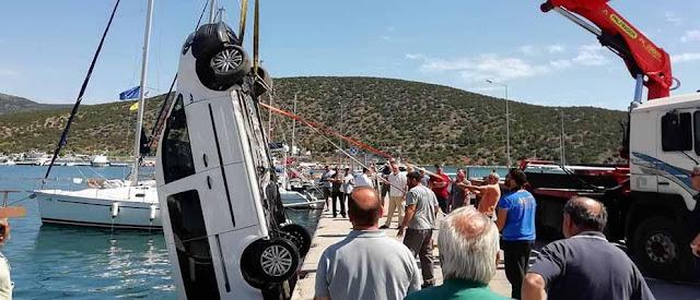 Αυτοκίνητο έπεσε στο λιμάνι της Ερμιόνης (βίντεο)