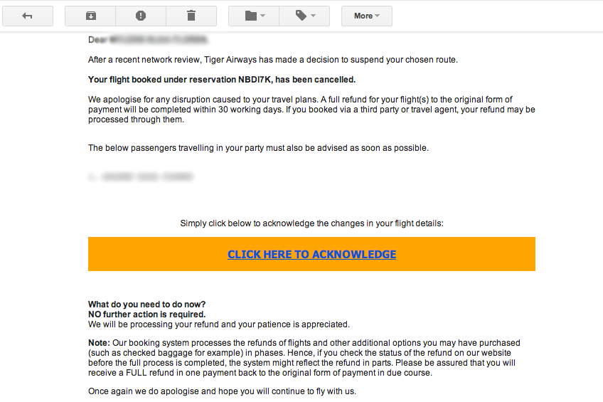 My Disappointment Over Tiger Airways Seairs Flight Cancellation