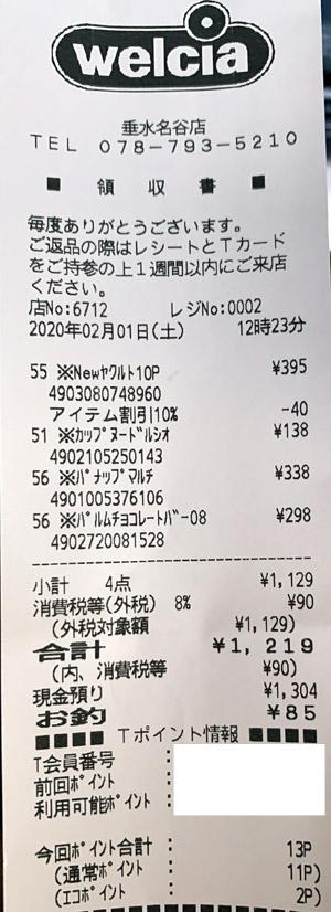 ウエルシア 垂水名谷店 2020/2/1 のレシート