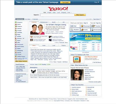 tampilan desain lama homepage yahoo