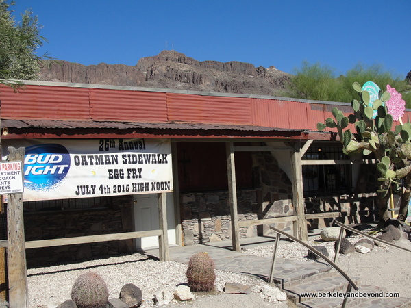 sign for Sidewalk Egg Fry in Gold Rush town of Oatman, Artizona