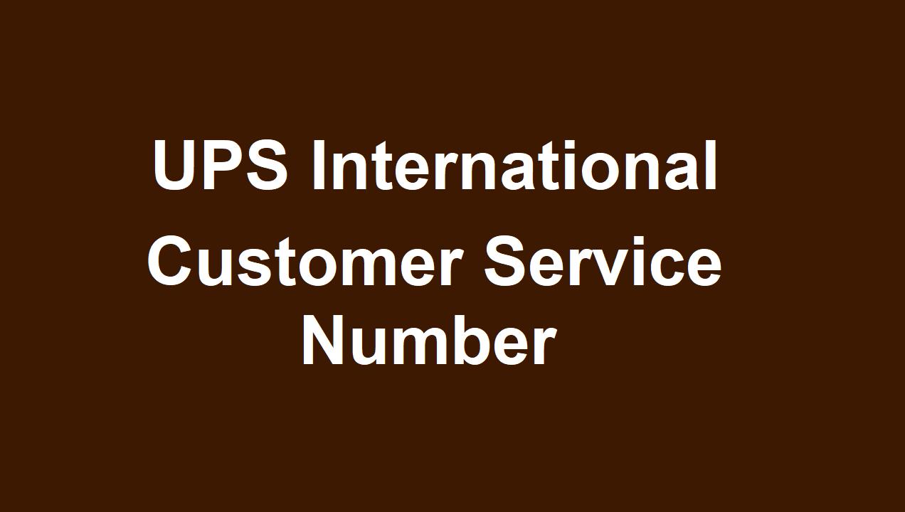 UPS International Customer Service Number
