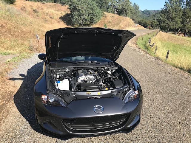 Hood up on 2020 Mazda MX-5 Miata Club