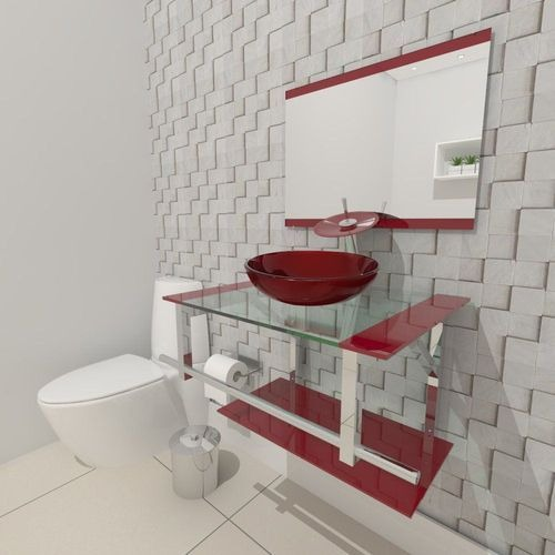Glass bathroom cabinet with red accents