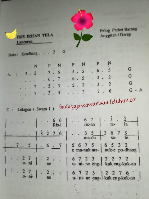 IRIS IRISAN TELA, Lancaran Laras Pelog Pathet Barang