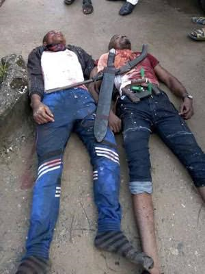 Two notorious armed robbers killed in shootout with police in Rivers State, guns, machete recovered