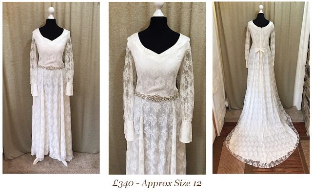 lace boho long sleeve bohemian vintage wedding dress available from vintage lane bridal boutique bolton manchester