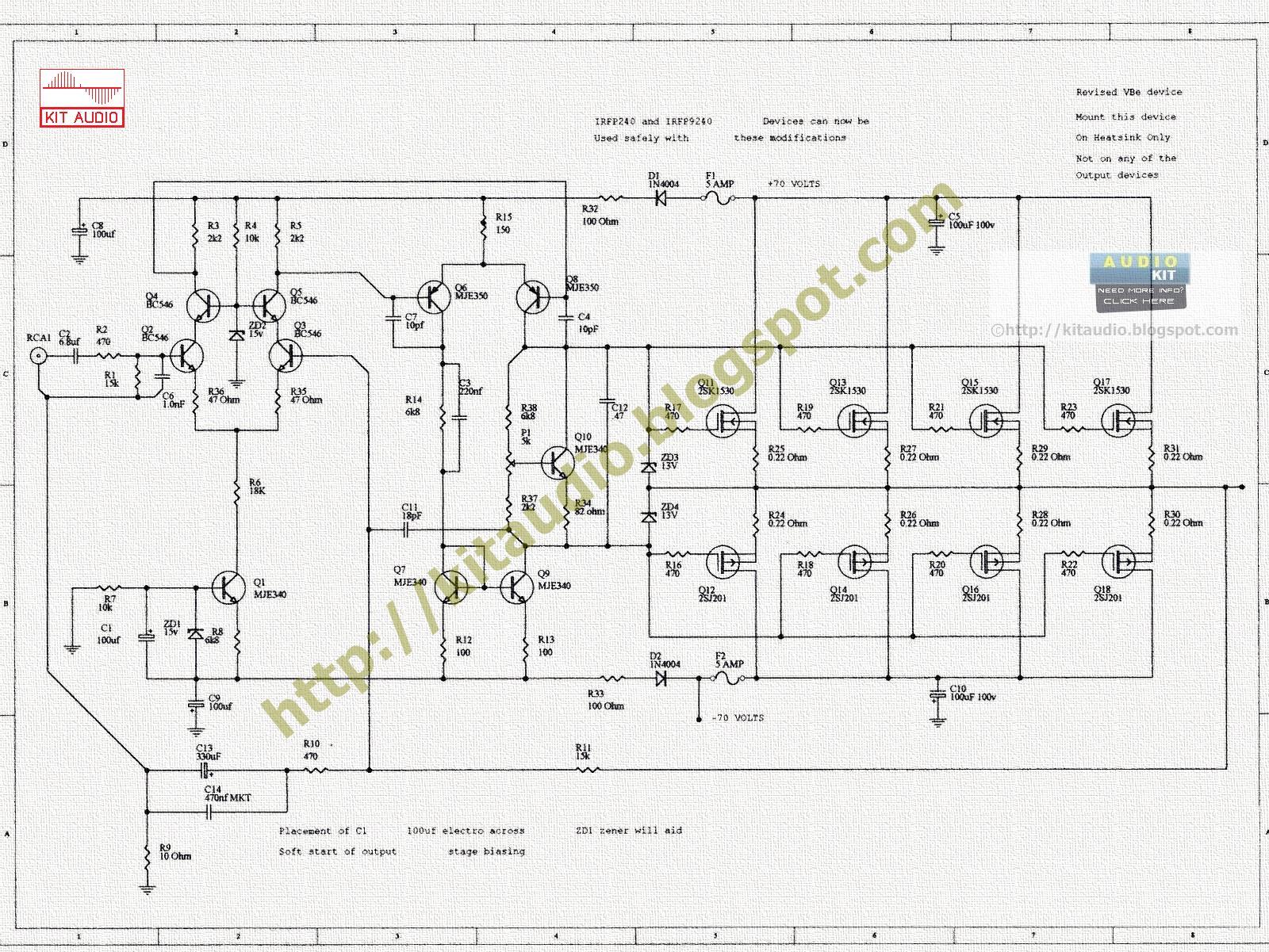 Audio Kit Circuits Hifi 30w Power Amplifier Circuit Diagram 2 Amplifiercircuits 240w 400w Mosfet