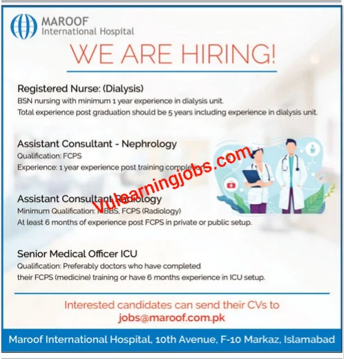 Maroof International Hospital Jobs 2020 For Nurse, Consultant & Other Latest