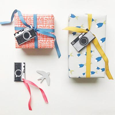 Ompak verpakkingen, vintage camera gift tags, gift wrap paper, paper design, pattern design, jurianne matter