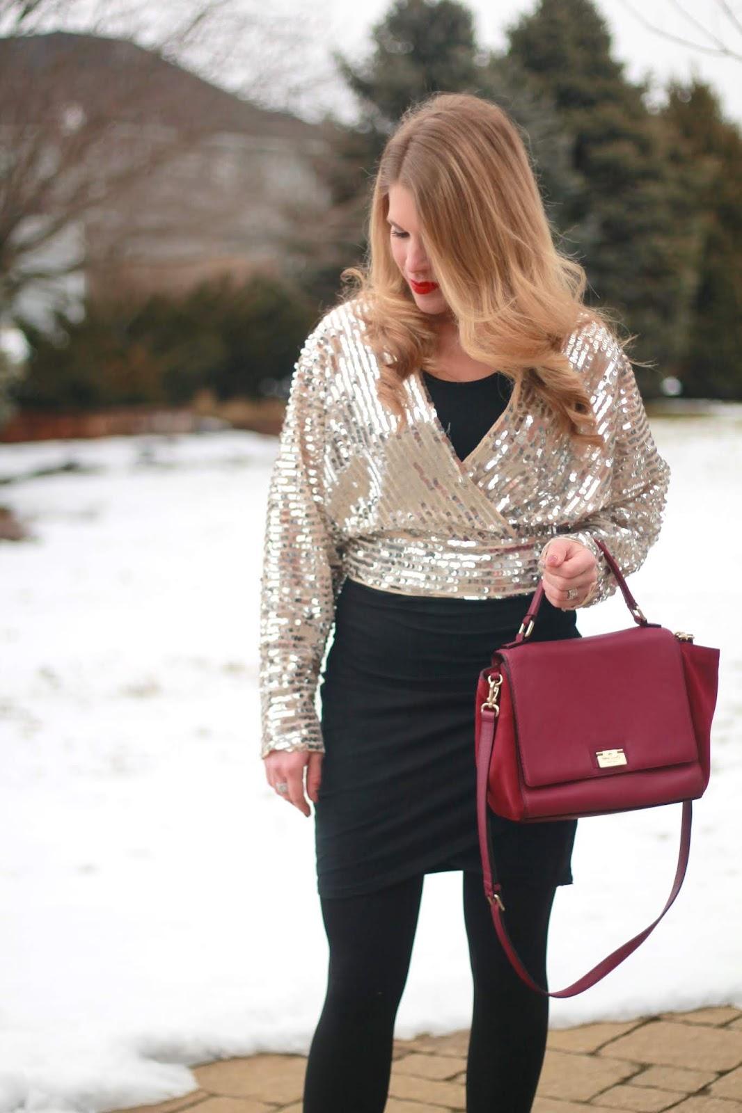 sequin crop top, black ruched dress, glitter pumps, Kate Spade plum bag,