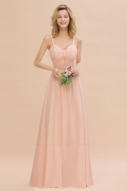 Chiffon Straps Beadings Long Bridesmaid Dress