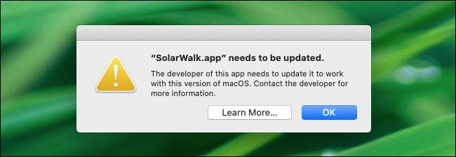 تحذير بشأن تطبيق 32 بت في macOS 10.15 Catalina