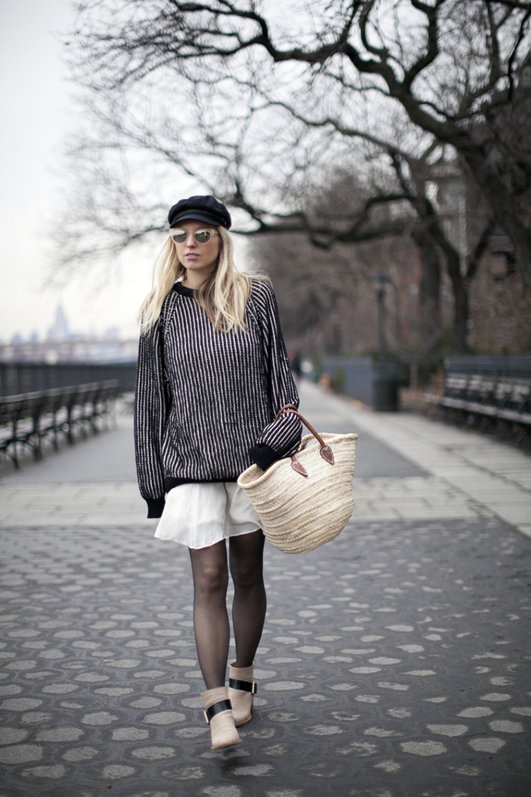 Brixton fiddler hat, Warby Parker Dorothy sunglasses, Cienne NY Sylvie sweater, Chloe flowy dress, Chloe boots, Brooklyn Heights, NYC