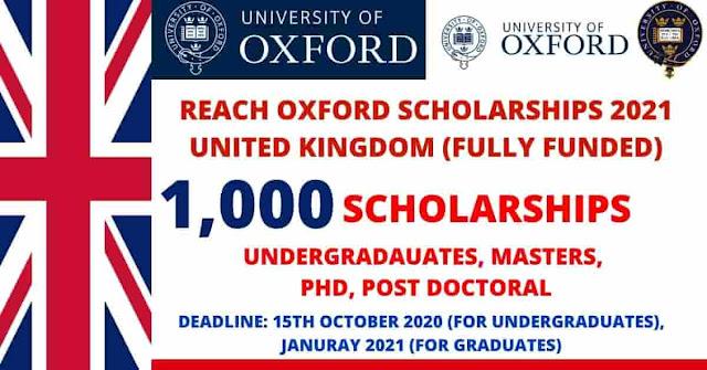 1000 منحة من جامعة أكسفورد  2021 المملكة المتحدة | ممولة بالكامل