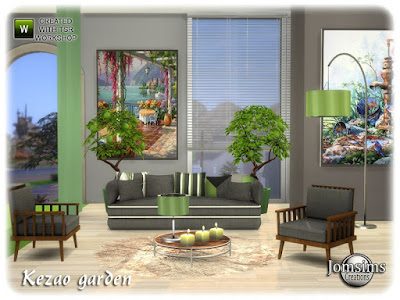 Kezao garden Sims 4 Сад кезао для The Sims 4 Новый комфортабельный и модезрн садовый набор. диван. диванные подушки настенная живопись большая х2. кофейный столик. коврики из искусственного меха. настольная лампа. торшер. живой стул. завод. среда 10 для всего набора Автор: jomsims