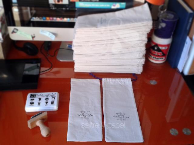 bolsas de tela para invitaciones