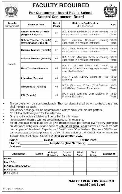 Cantonment Board Public School Karachi Jobs