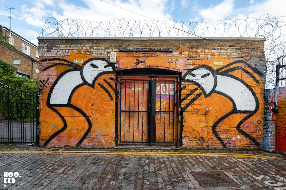 Screaming stik figures as part of Hookedblog's Brick Lane Street Art Tour