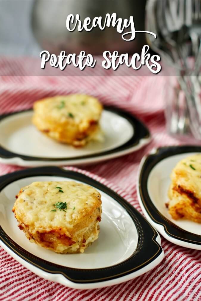 Creamy Potato Stacks with Garlic, Herbs, and Cheese