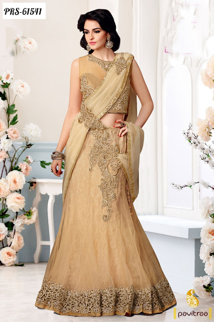 beige color net designer collection lehenga style online at lowest price in India