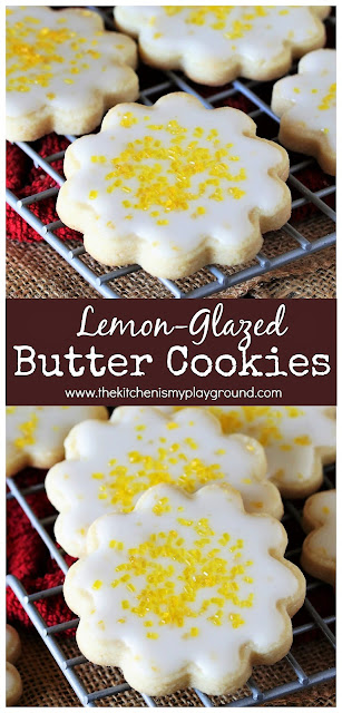 Lemon-Glazed Butter Cookies ~ Rich, tender butter cookies topped with a fresh lemon glaze, these little beauties are amazingly-delicious, and pack a huge lemon punch.  www.thekitchenismyplayground.com
