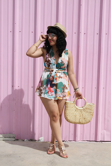 L'ATISTE Floral Romper and Kate Spade Wedges Retro Vegas Outfit | Will Bake for Shoes