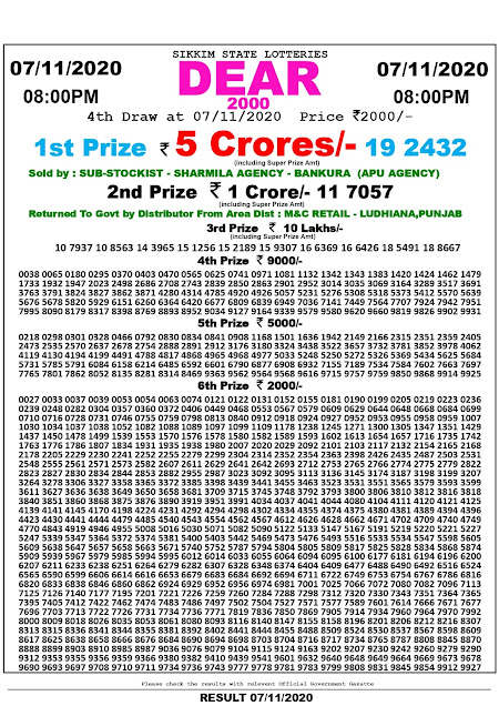 07.11.2020 Dear 2000 Lottery 8:00 pm, Lottery Sambad, Sambad Lottery, Lottery Sambad Result, Lottery Sambad Bumper Result, Sikkim