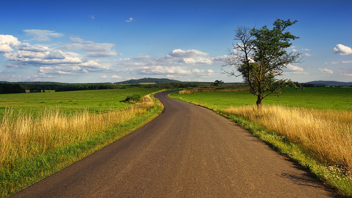 jalan aspal keren dan manis indah keren rumput hijau