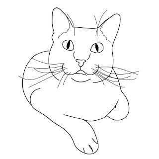 line drawing of a laying cat