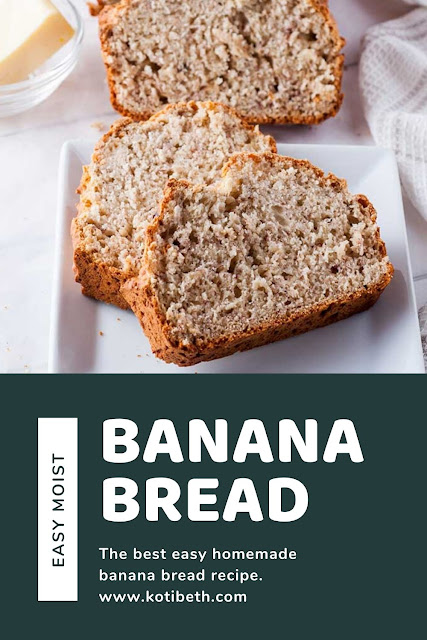 How to make a basic one bowl banana bread recipe easy.  This is the best easy recipe moist that is eggless and quick to make. This simple recipe is delicious on its own, or add chocolate chip, blueberry, or strawberry for a fun new twist.  How to make easy homemade banana bread with 5 minutes prep time. #bananabread #quickbread #moist