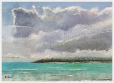雲の習作。水彩画。雲と南の海。