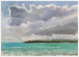 水彩画「雲の習作」