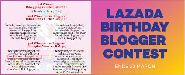 Keputusan Lazada Birthday Blogger Contest