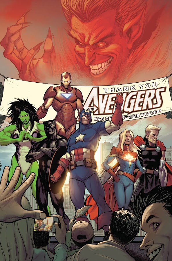 avengers war of the realms marvel comics avengers day unlike any other avengers black panther t'challa captain marvel carol danvers captain america steve rogers iron man tony stark she-hulk jennifer walters thor odinson mephisto jason aaron stefano caselli