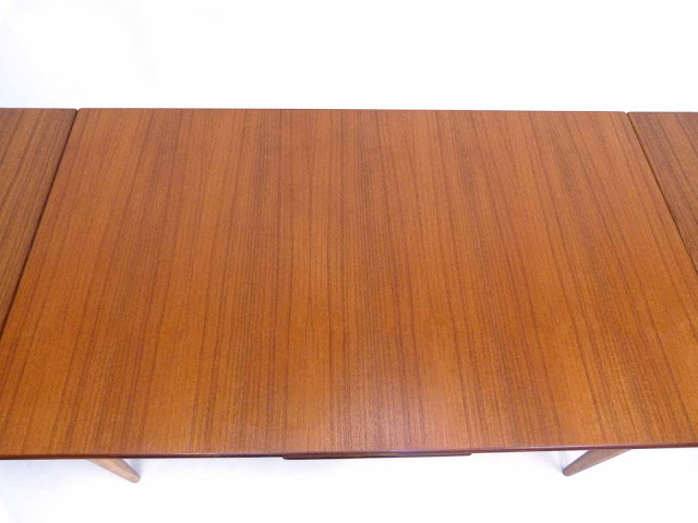 J.O. Carlsson Swedish Teak Draw-Leaf Dining Table Top Center