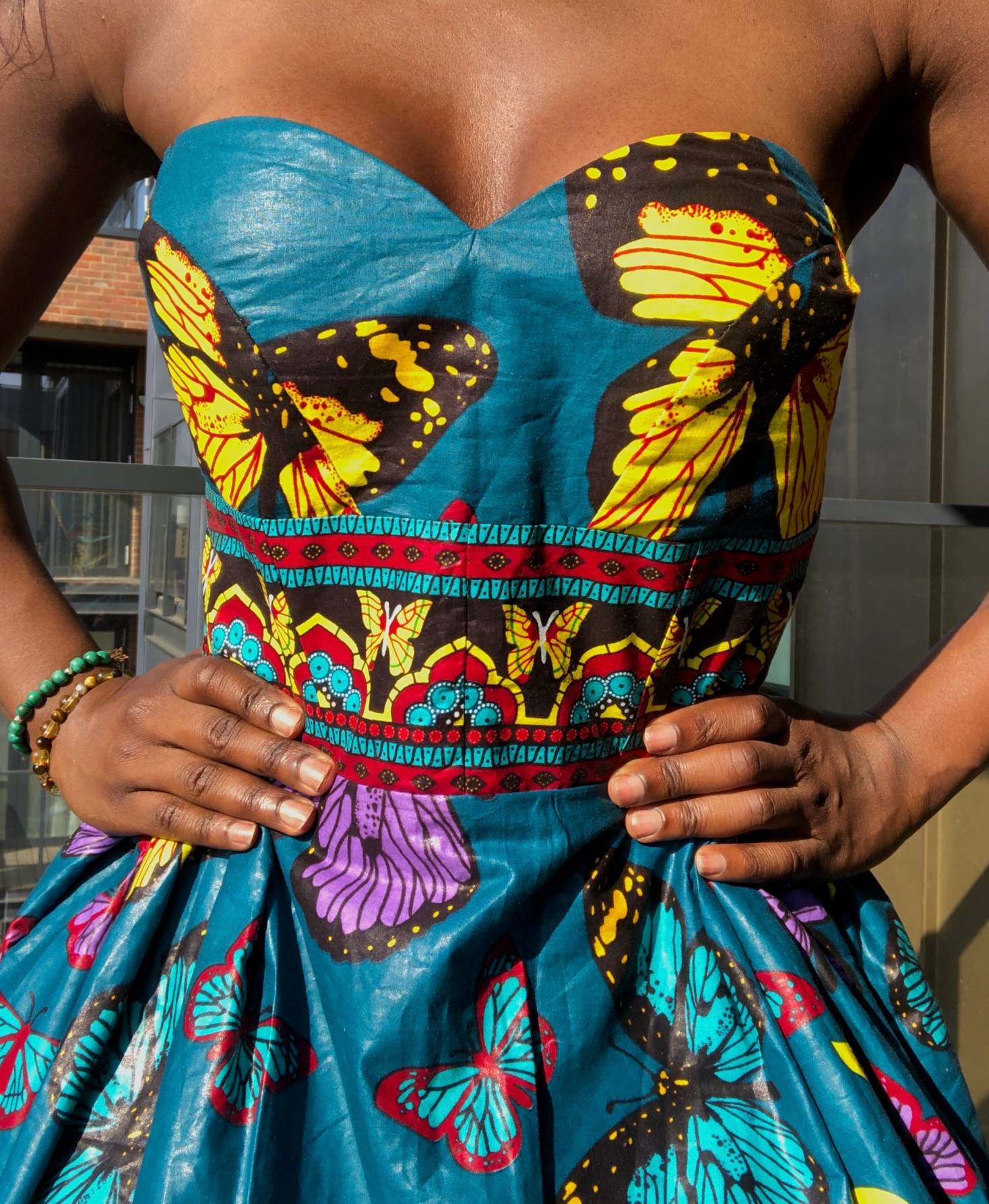 African dress with fabric detail