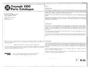 Triumph 1300 Parts fiche front page