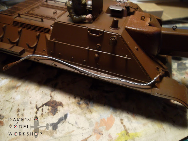 Scratchbuilt wire tow cable for my Tamiya SU-122