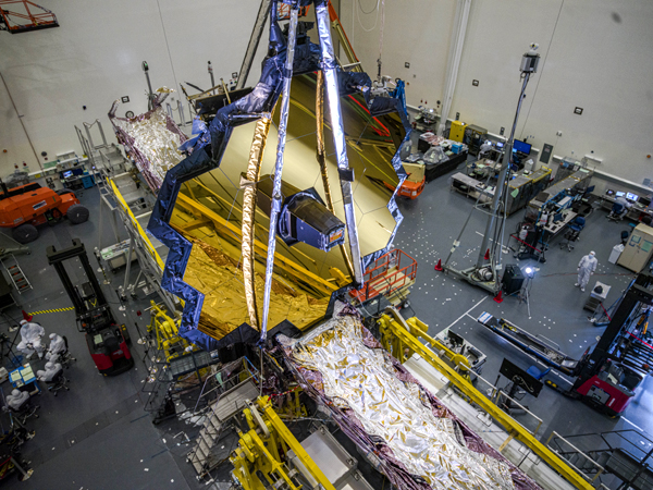 A snapshot of NASA's James Webb Space Telescope inside a clean room at the Northrop Grumman facility in Redondo Beach, California.