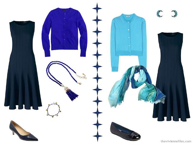 2 ways to wear a navy dress with royal blue or turquoise accessories