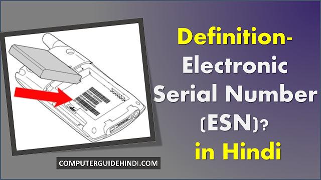 परिभाषा- इलेक्ट्रॉनिक सीरियल नंबर (ESN) क्या है? हिंदी में [Definition- What is Electronic Serial Number (ESN)? in Hindi ]