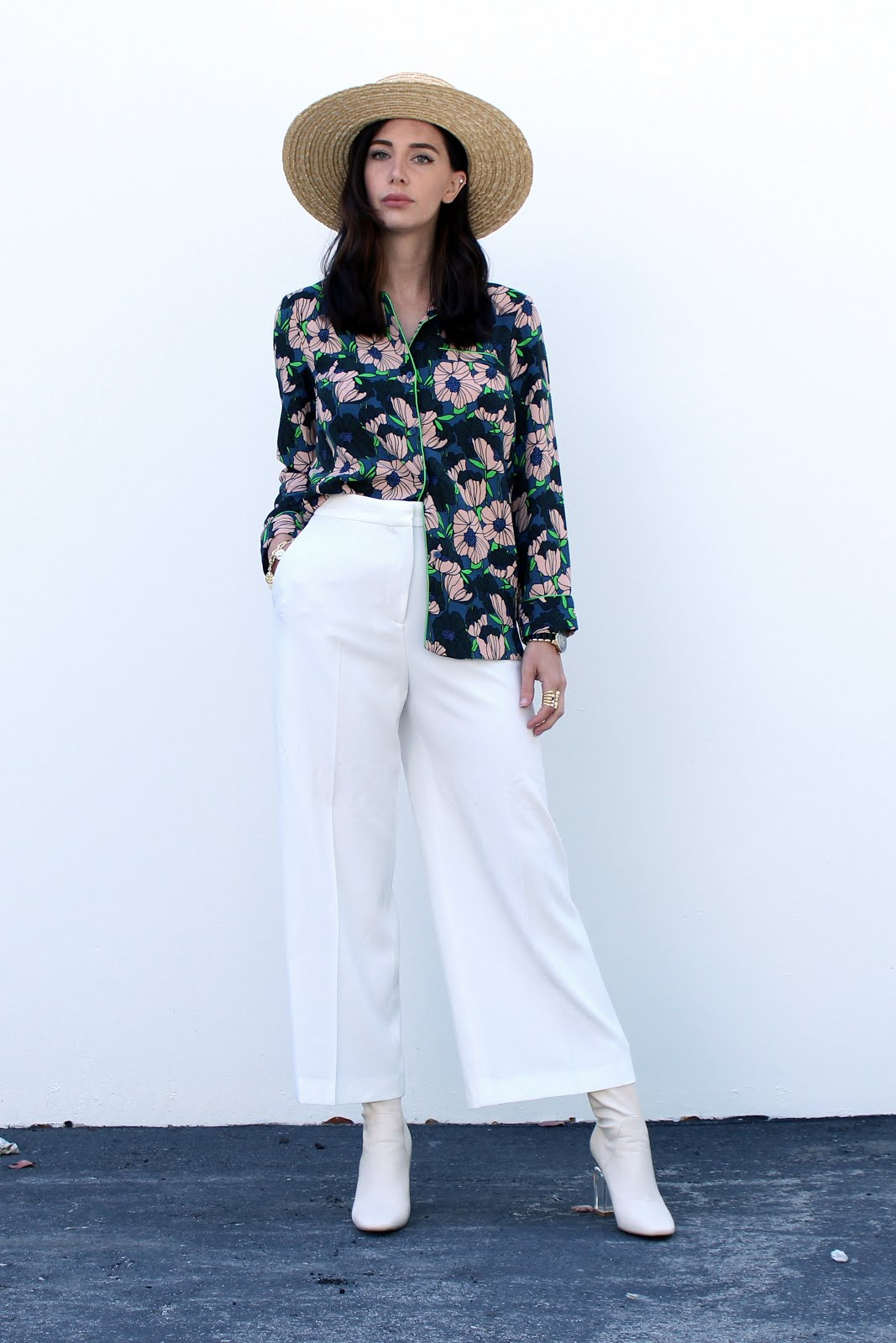 summer outfit florals culottes straw hat