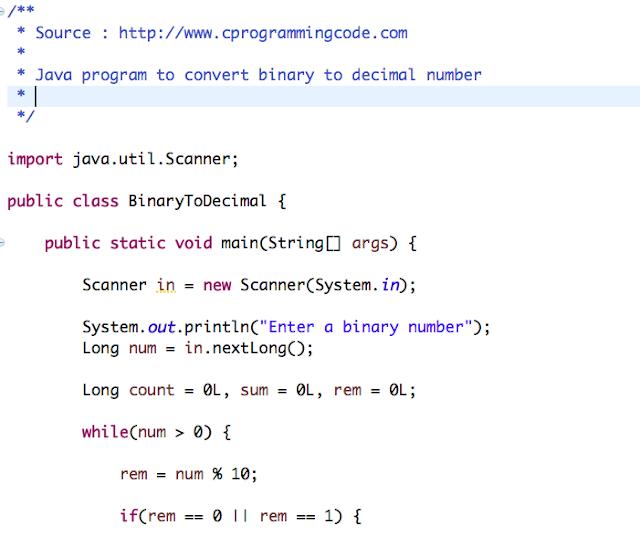 Java Program to Convert Binary to Decimal Number