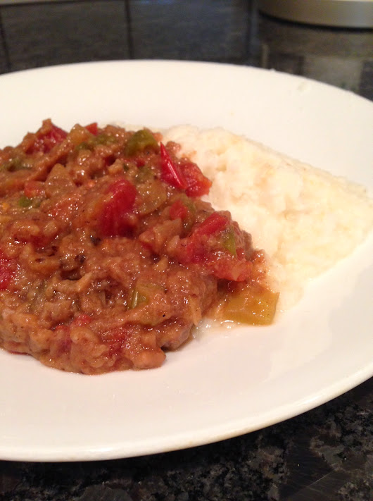 Creole Beef Grillades and Cheese Grits