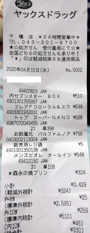 ヤックスドラッグ 千種店 2020/4/15 のレシート